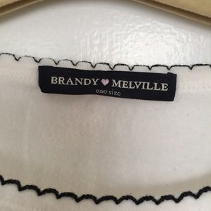 Brandy Melville Tops - Brandy Melville white tee with black border.
